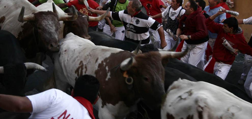 Billeder fra San Fermín i Pamplona, tyrefestival, tyre løber i gaderne
